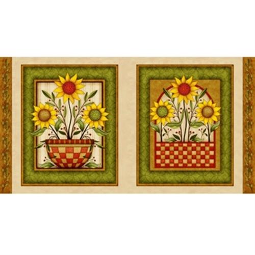 Sunflower Bouquet Sunflowers 22x44 Cotton Fabric Pillow Panel Set