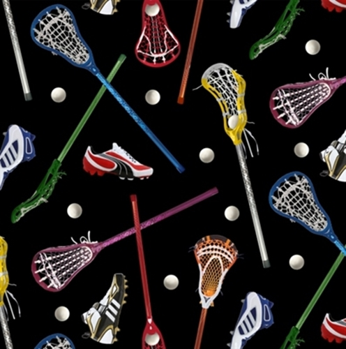Sports Collection LAX Lacrosse Sticks, Balls, Cleats Cotton Fabric