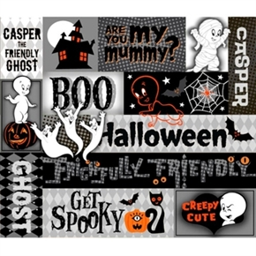 Picture of Creepy Cute Casper the Friendly Ghost Halloween Patch Cotton Fabric