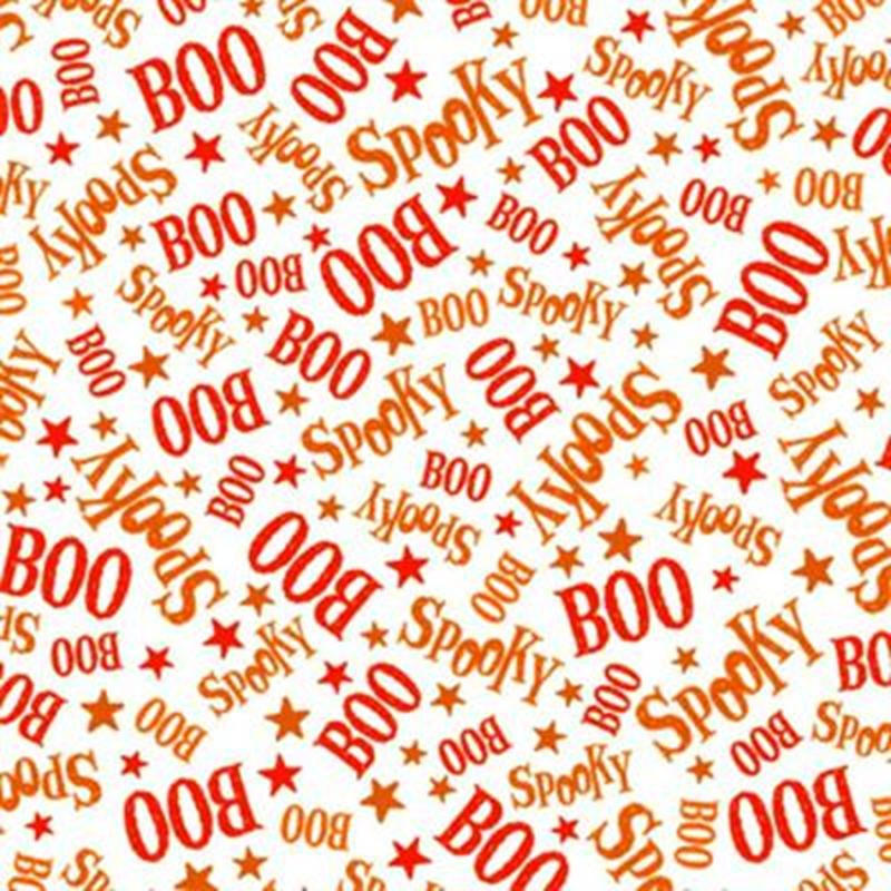 Picture of Creepy Cute Casper the Friendly Ghost Spooky Boo Words Cotton Fabric