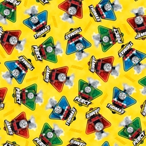 Fast Friends Thomas the Train Character Toss Yellow Cotton Fabric