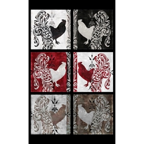 Bonjour Roosters in Blocks 22x44 Large Cotton Fabric Panel
