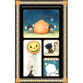 Picture of Charmed Halloween Mice, Cat, Ghost 22x44 Large Cotton Fabric Panel