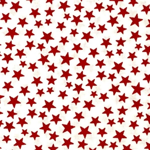 Made in the U.S.A. Patriotic Red Stars on White Cotton Fabric