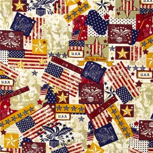 Made in the U.S.A. Antique Patriotic USA Icons Cotton Fabric