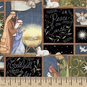 Holy Night Nativity Good Will to All Peace on Earth Cotton Fabric