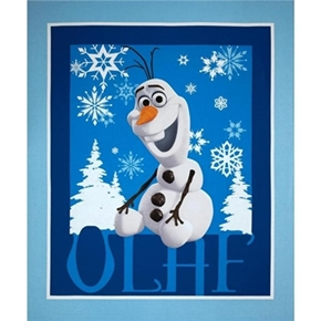 Picture of Disney Frozen Olaf Snowflakes Blue Large Cotton Fabric Panel