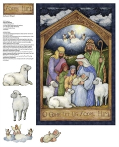 Holy Night Nativity Oh Come Let Us Adore Him Fabric Craft Panel