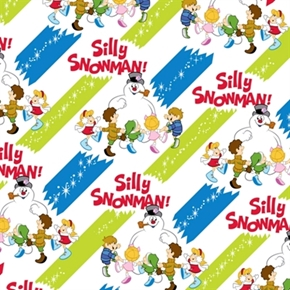 Silly Snowman Frosty and Children on Blue Green Stripes Cotton Fabric