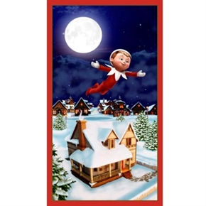 An Elf Story Holiday Elf on a Shelf 24X44 Large Cotton Fabric Panel