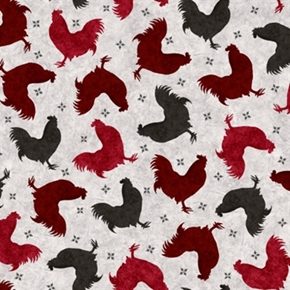 Picture of Bonjour Roosters Black, Red and Wine Cotton Fabric