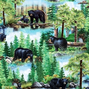 Picture of Bear Country Mother Bear with Cubs in the Woods 24x22 Cotton Fabric