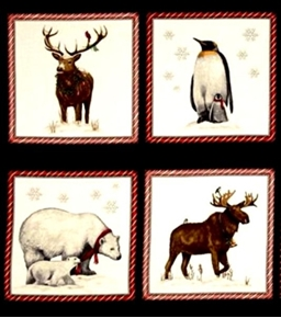 Holly Jolly Christmas Winter Animals 24x22 Cotton Fabric Pillow Panel