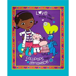 Disney Doc McStuffins Lollipops Large Cotton Fabric Panel