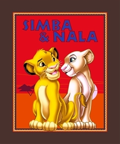 Disney Lion King Simba and Nala Large Cotton Fabric Panel