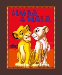 Disney Lion King Simba and Nala Large Cotton Fabric Panel