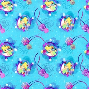 Disney Tink Petal Perfect Cameo Tinkerbell Roses on Blue Cotton Fabric
