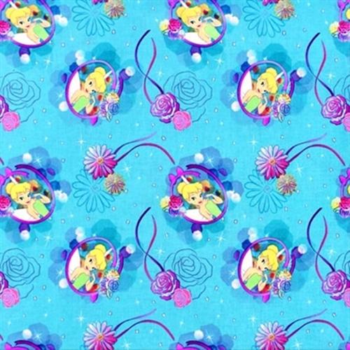 Disney Tink Petal Perfect Cameo Tinkerbell Roses on Blue Cotton Fabric