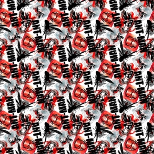 Marvel Avengers Ant-Man and Insects on White Cotton Fabric