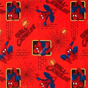 Picture of Spiderman Wall-Crawler Climbing Red Cotton Fabric