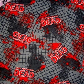 Flannel Walking Dead Chain Link Fence Gray Cotton Fabric