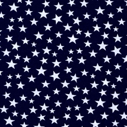 Made In The Usa Patriotic White Stars On Navy Blue Cotton Fabric