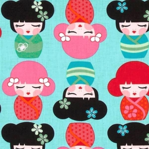 Picture of Hello Tokyo Japanese Kimmidolls on Aqua Cotton Fabric