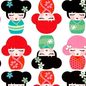 Picture of Hello Tokyo Japanese Kimmidolls on White Cotton Fabric
