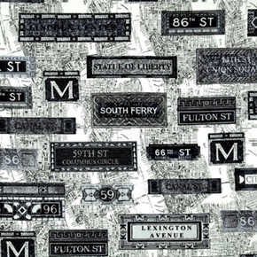New York State of Mind Subway Signs and Map Cotton Fabric