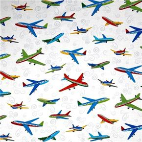 City Construction Jet Airplanes on White Cotton Fabric