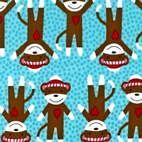 Picture of Critter Club Sock Monkeys on Aqua Polka Dots Cotton Fabric