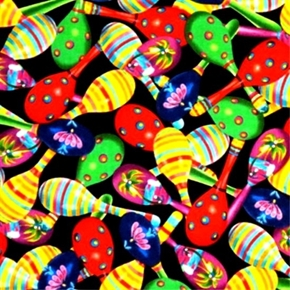 Fiesta Colorful Maracas on Black Cotton Fabric