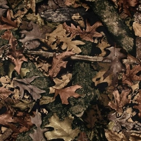 True Timber Harvest Camo Camouflage Woodland Brown Cotton Fabric