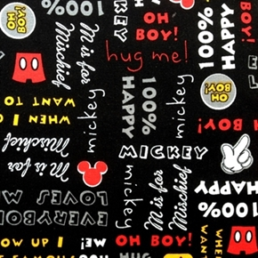 Disney Mickey Mouse with Words Oh Boy! Black Cotton Fabric