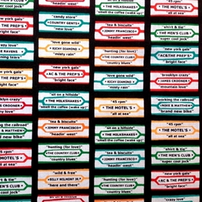 Arnold's Diner Retro Jukebox Song Title Labels Cotton Fabric