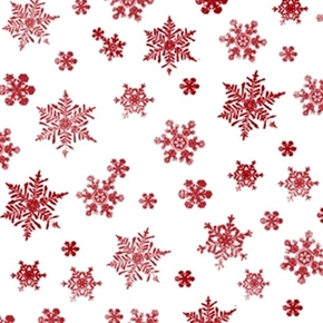 Holiday Elegance Red Snowflakes on White Cotton Fabric