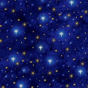 Rejoice North Star White and Gold Stars on Cobalt Blue Cotton Fabric