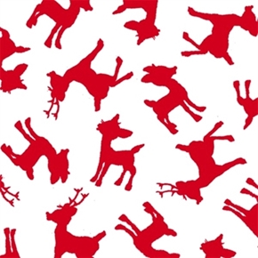 Rudolph and Friends Red Reindeer Silhouette Cotton Fabric