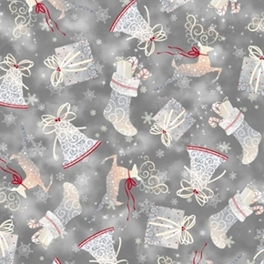 Holiday Elegance Bells, Stockings and Gifts on Pewter Cotton Fabric