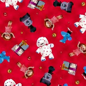 Picture of Rudolph the Red-Nosed Reindeer and Friends Toy Toss Red Cotton Fabric