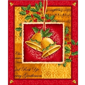 Christmas Bells, Holly and Lyrics Large Cotton Fabric Panel