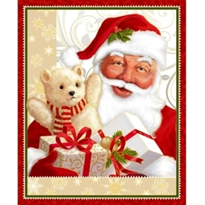 Jolly Old St Nick Vintage Santa with Teddy Large Cotton Fabric Panel