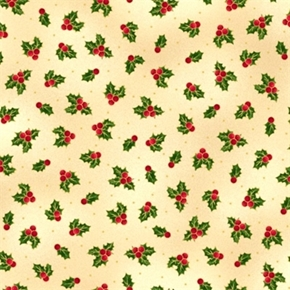 Picture of Sounds of the Season Holly and Berries Gold on Cream Cotton Fabric