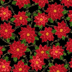 Sounds of the Season Poinsettias on Musical Notes Cotton Fabric