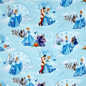 Disney Princess Cinderella at the Ball on Blue Cotton Fabric