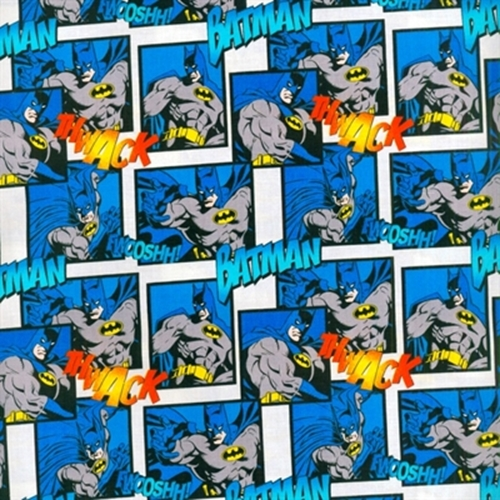Batman Thwack Action Squares Cotton Fabric