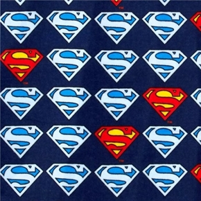 Flannel Superman Shield Blue D.C. Comics Cotton Flannel Fabric