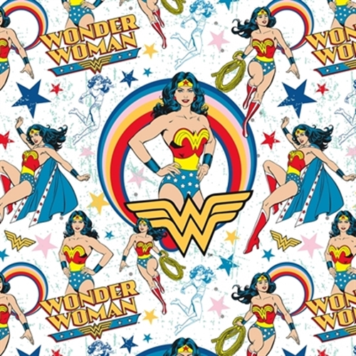 Flannel Girl Power Wonder Woman Stars Cotton Flannel Fabric