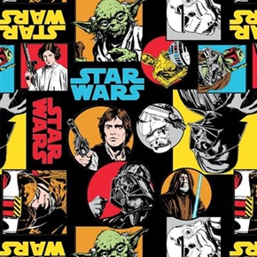Star Wars The Dark Side Characters Circles and Squares Cotton Fabric