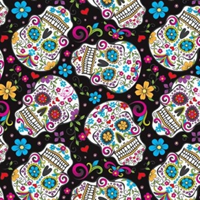 Folkloric Skulls Colorful Mexican Skulls Cotton Fabric